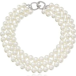 KENNETH JAY LANE,  3 ROW GLASS PEARL NECKLACE